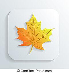 autunno, vettore, foglia, icona