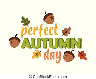 autunno, vettore, foglie, scheda