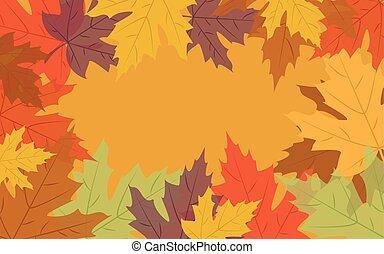 autunno, vettore, fondo, colorito, foglie