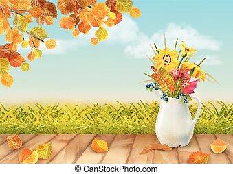 autunno, vettore, fondo