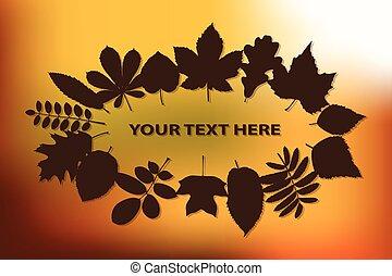 autunno, vettore, fondo, illustrazione, foglie