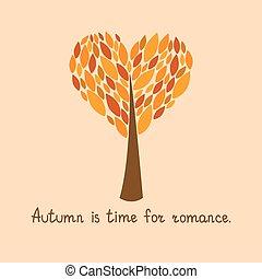 autunno, vettore, illustrazione, scheda
