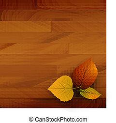 autunno, vettore, legno, fondo
