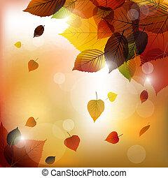 autunno, vettore, mette foglie, fondo