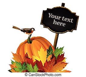 autunno, vettore, ringraziamento, composizione