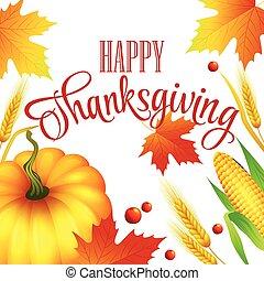 autunno, vettore, ringraziamento, illustrazione, card.