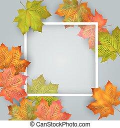 autunno, vettore, scheda