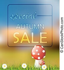 autunno, vettore, vendita, scheda