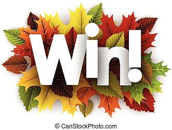 autunno, vincere, fondo, con, leaves.
