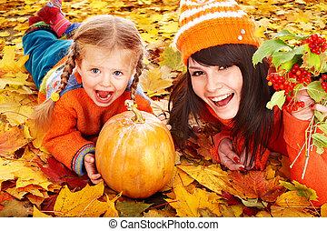 autunno, zucca, leaves., famiglia, felice