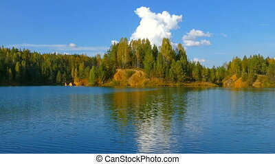 aututmn lake landscape in Ural mountains, zoom in