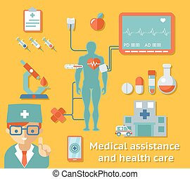 auxílio médico, e, cuidado saúde, conceito