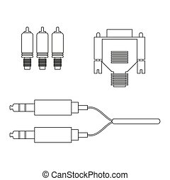 aux vga component cable on the white background. Vector...