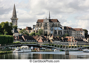 Auxerre, Burgundy, France. Beautiful cityscape with river...