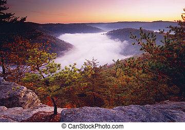 Auxier Ridge - Sunrise from Auxier Ridge showing fog laden...