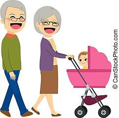avós, carrinho criança empurrando