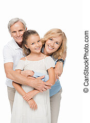 avós, com, neto, abraçando