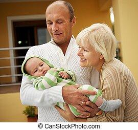 avós, com, seu, neto
