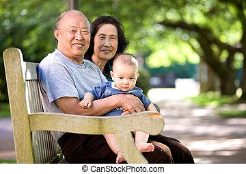 avós, parque, criança