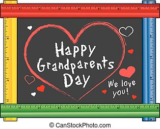 avós, régua, quadro, dia, amor
