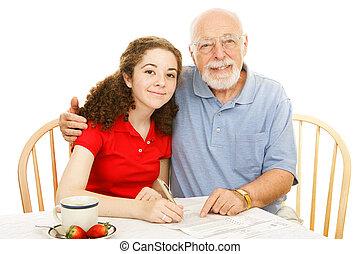 avô, ajudando, adolescente