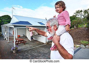 avô, e, neto, relacionamento