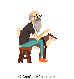 avô, em, óculos de sol, sentando uma cadeira, a, cão, sentando, perto, ele, só, homem sênior, e, seu, animal, animal estimação, vetorial, ilustração, ligado, um, fundo branco