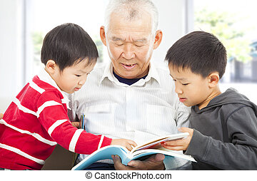 avô, grandchildren, livro, leitura