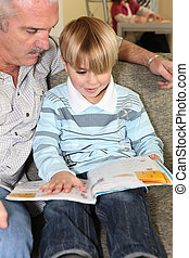 avô, leitura, com, seu, neto