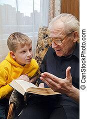 avô, leitura, para, seu, neto