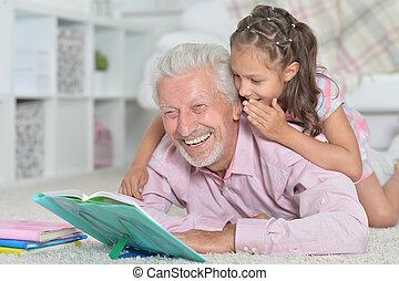 avô, livro leitura, com, seu, neta