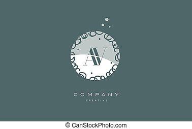 av a v  monogram floral green alphabet company letter logo