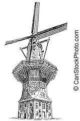 av, amsterdam, vektor, gooyer, illustration, väderkvarn