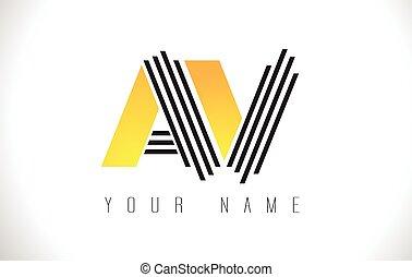 AV Black Lines Letter Logo. Creative Line Letters Vector Template.