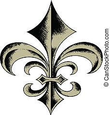 av, emblem, skydda, fleur, läsidor