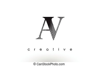 AV Logo Design With Multiple Lines and Black and White Colors.