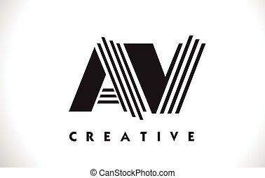 AV Logo Letter With Black Lines Design. Line Letter Vector Illustration