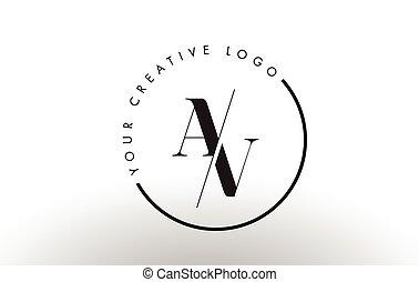 AV Serif Letter Logo Design with Creative Intersected Cut. -...