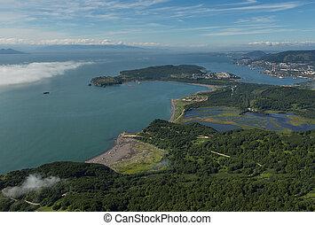Avacha Bay in Pacific Ocean on the southeastern coast of Kamchatka Peninsula.