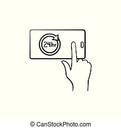 Availability hand drawn outline doodle icon. - A smartphone...