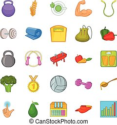 Availability icons set, cartoon style - Availability icons...