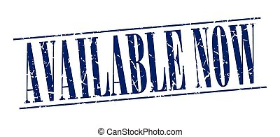 available now blue grunge vintage stamp isolated on white background
