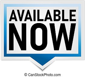 available now blue paper tag on a white background