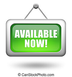 Available now sign on white background