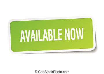 available now green square sticker on white background