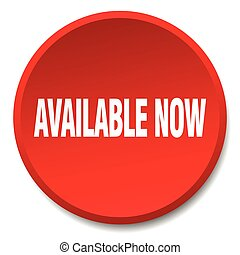 available now red round flat isolated push button