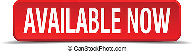 available now red three-dimensional square button isolated on white background