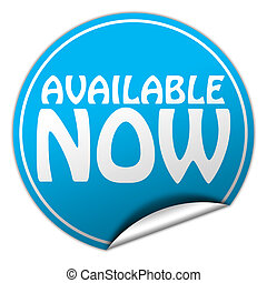 AVAILABLE NOW round blue sticker on white background