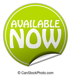 AVAILABLE NOW round green sticker on white background