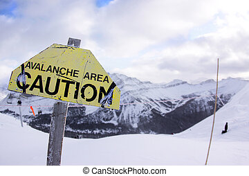 Avalanche Danger - A Sign warning skiers of an avalanche ...